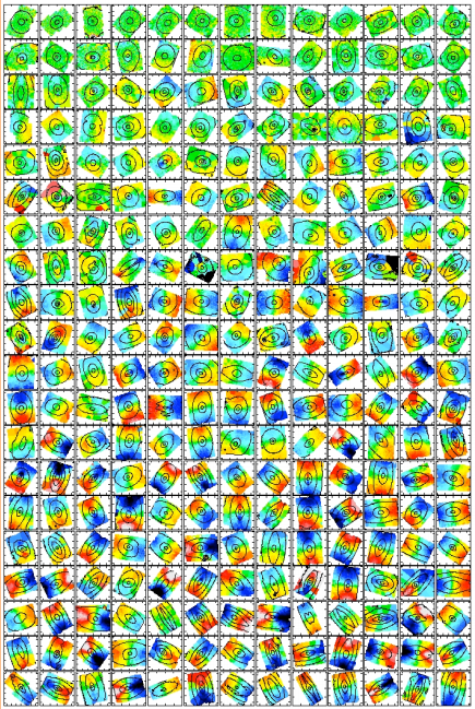 These 260 elliptical galaxies can now be visualised in 3D and their motions properly understood. (Colour coding and black lines as described in Box 3.) (Credit: Krajnović et al. 2011, MNRAS, 414, 2923)